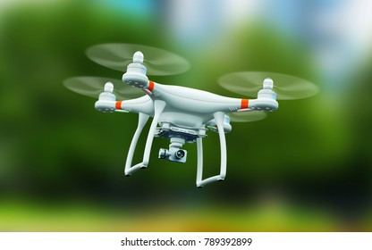 Creative abstract 3D render of professional remote controlled wireless RC quadcopter drone with 4K video and photo camera for aerial photography flying in the air outdoors with selective focus effect