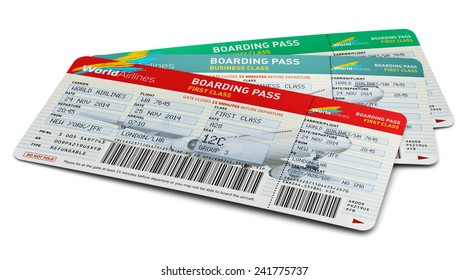 Creative abstract air business travel, tourism and transportation concept: group of color airline tickets for first, business and economy class travel isolated on white background