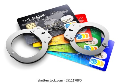 Creative abstract banking fraud and money financial crime concept: 3D render illustration of the group of color bank credit cards and metal handcuffs isolated on white background