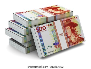 Creative abstract banking, money making and business success financial concept: heap of stacks of 500 Swedish krona banknotes isolated on white background