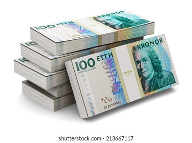 Creative abstract banking, money making and business success financial concept: heap of stacks of 100 Swedish krona banknotes isolated on white background