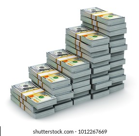 Creative abstract business, financial success growth development and making money concept: 3D render of the growing bar graph from the stacks of new 100 US dollar 2013 edition banknotes or bills