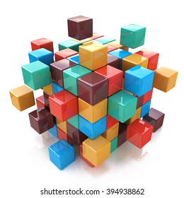 Creative abstract business teamwork, internet and communication concept: glossy color cubic structure with assembling colored cubes isolated on white background with reflection effect