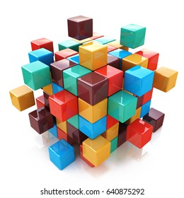 Creative abstract business teamwork, internet and communication concept: glossy color cubic structure with assembling colored cubes isolated on white background with reflection effect. 3d illustration