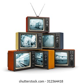 Creative abstract communication media and television channel broadcasting business concept: stack or pile of old retro color wooden home TV receiver sets with antenna isolated on white background