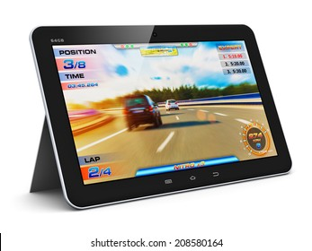 Creative abstract computer gaming and PC entertainment technology concept: modern black glossy touchscreen tablet with video game isolated on white background