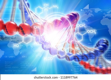 Creative abstract DNA genetic research scientifc medical technology analysis concept: 3D render illustration of DNA molecule structure and research data cyberspace