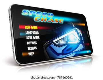 Creative abstract mobile gaming and computer entertainment technology concept: 3D render illustration of modern black glossy touchscreen smartphone with video game isolated on white background