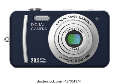 Creative abstract photography imaging and picture technology professional photographic equipment concept: 3D render of compact digital photo camera with zoom lens isolated on white background