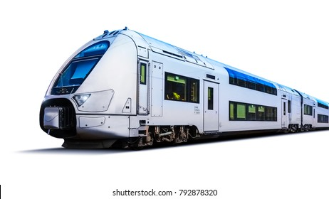 Creative abstract railroad travel and railway tourism transportation industrial concept: modern high speed passenger commuter train isolated on white background