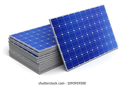 Creative abstract solar power generation technology, alternative energy and environment protection ecology business concept: 3D render illustration of the group of stacked solar battery panels