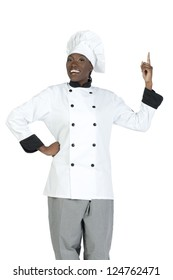 Creative african chef raising her finger showing that she has an idea