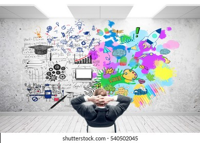 Creative and analytical thinking concept. Relaxing businessman in concrete room with sketch