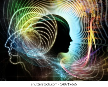 Creative arrangement of human feature lines and symbolic elements as a concept metaphor on subject of human mind, consciousness, imagination, science and creativity