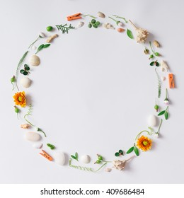 Creative arrangement made of natural summer things. Flat lay