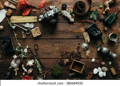 Creative arrangement of natural things with camera and travel gear. Flat lay