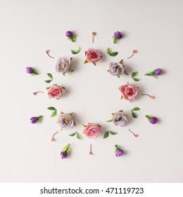 Creative arrangement of various flowers. Flat lay.
