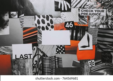 Creative Atmosphere art mood board collage sheet in color idea black, white, red made of teared paper with different textures