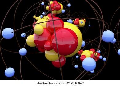 Creative atom wallpaper. Medicine and design concept. 3D Rendering