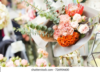 Creative autumn floral bouquet close up