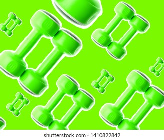 Creative background of many plastic green dumbbells.Pop art, zine style. Sports concept.