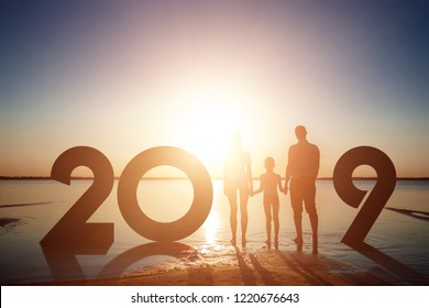 Creative background, Silhouette family for 2019 New Year. Happy New Year 2019, copy space.