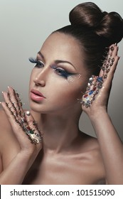 Creative beauty portrait with pins