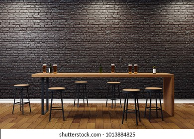 Creative black brick pub or bar interior with copy space on wall. Mock up, 3D Rendering