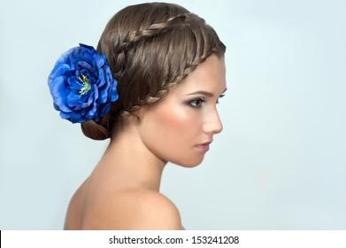 Creative braid hairstyle. Beauty wedding hairstyle. Bride