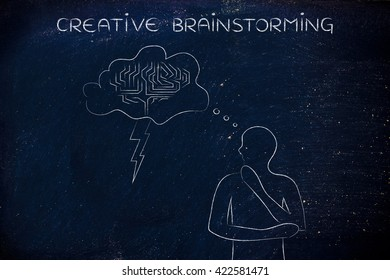 creative brainstorming: thoughful man with brainstorming thought bubble with lightning bolt and brain design
