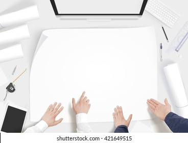 Creative builder desk with building project blank paper whatman mockup. Constructor workplace mock up. Engineer construct interior paperwork template. Clear scheme developement architect workshop top.