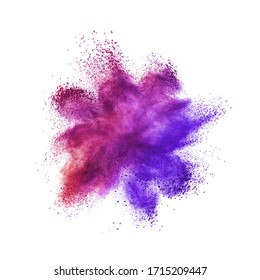 Creative chaotic powder burst or splash in violet and purple colors on a white background with copy space.