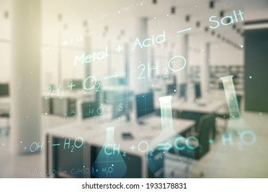 Creative chemistry hologram on a modern furnished office interior background, pharmaceutical research concept. Multiexposure