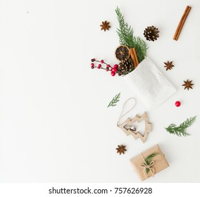 Creative Christmas Composition for 2018. Flat lay. Copy space