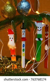 Creative Christmas Images with Gifts, Christmas Tree, Background pattern hand painted