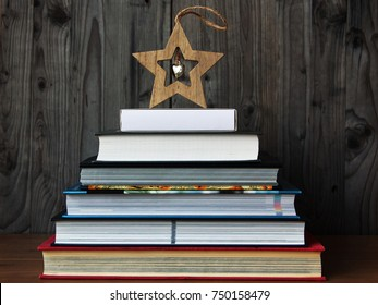 Creative Christmas tree from a pile of books