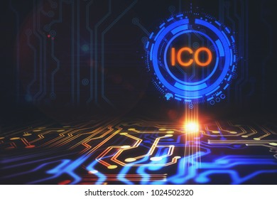 Creative circuit ICO background. Initial coin offering concept. 3D Rendering