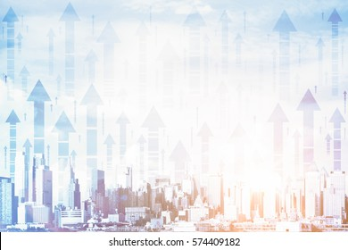 Creative city with upward arrows and daylight. Double exposure. Financial growth concept