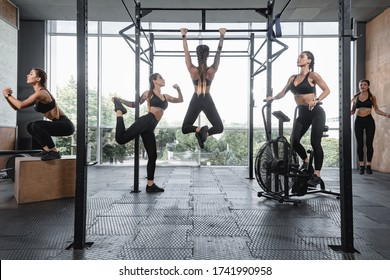 Creative collage of fit young woman doing functional training