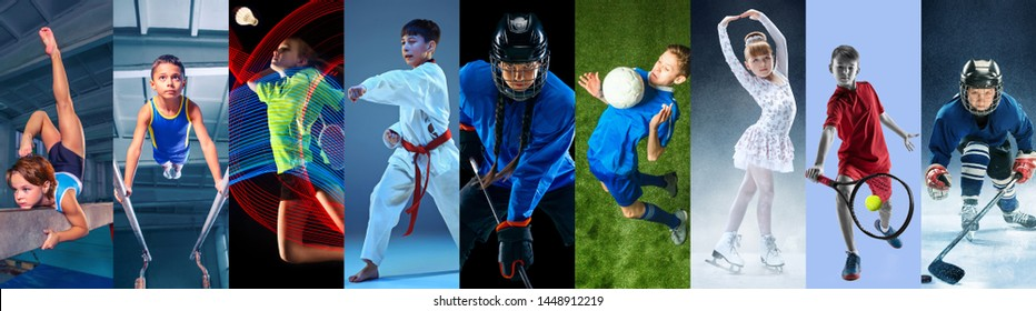 Creative collage made of photos of 9 caucasian models. Childrens in sport and healthy lifestyle. Hockey, gymnastick, badminton, football, soccer, tennis, figure skating, athletics, taekwondo.