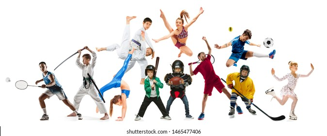 Creative collage of photos of 10 models. Advertising, sport, healthy lifestyle, motion, activity, movement concept. American football, soccer, tennis volleyball box badminton rugby