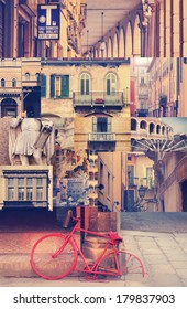 Creative collage representing an authentic Italian experience with overall classic vintage toning