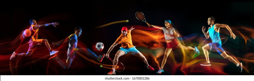 Creative collage of sportsmen in mixed and neon light on black background. Flyer for advertising or proposal. Motion, action, sport, reaching target concept. Tennis, soccer, basketball, badminton, run