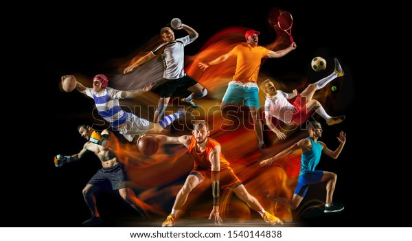 Creative collage of unrecognizable models running and jumping. Advertising, sport, healthy lifestyle, motion, activity, movement concept. American football, soccer, tennis volleyball box badminton