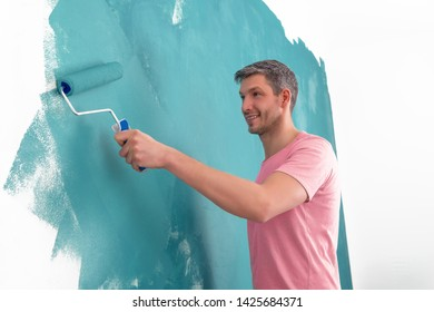 creative color wall painting man