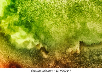 Creative, colorful macro image of fruity pulp. Abstract, fresh, fruity background with enhanced texture, fibers.