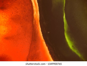 Creative, colorful macro image of fruity pulp. Abstract, fresh, fruity background with enhanced texture details.
