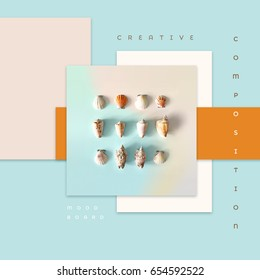 Creative colorful summer theme mood board with seashells in flat lay style surrounded by blue, white and orange colored rectangles