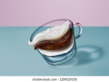 Creative composition of coffee beverage - flying layers of water, coffee, milk, creamy foam in a glass cup moving above the surface of the blue table.
