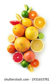 Creative composition of colorful citrus fruits isolated on white background, top view, flat lay - Shutterstock ID 1931653781